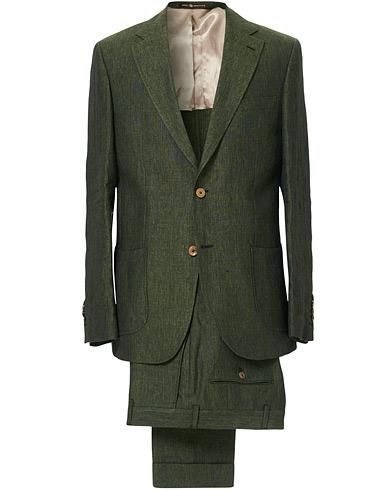 Mike Patch Pocket Linen Suit Green