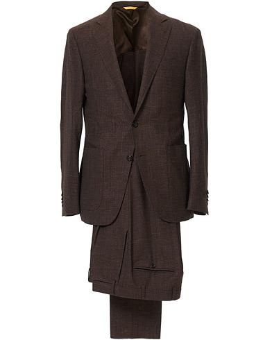 Wool/Linen Patch Pocket Suit Dark Brown