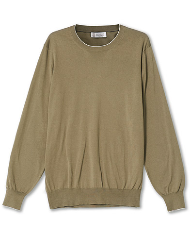 Brunello Cucinelli Crew Neck Cotton Contrast Pullover Olive Green 54 i gruppen Care of Carl Pre-owned hos Care of Carl (V16688615001)