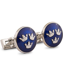 Cuff Links Tre Kronor Silver/Royal Blue