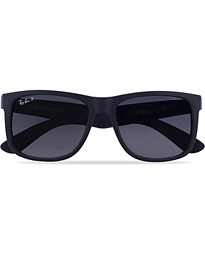 Ray-Ban 0RB4165 Justin Polarized Wayfarer Sunglasses Black/Grey