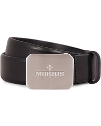 Plated Logo Leather 3,5 cm Belt Black