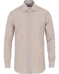 78d357f13f71 Slim Fit Cotton/Linen Stripe Shirt White/Brown
