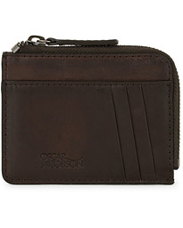 Oscar Jacobson Leather Zip Credit Card Holder Dark Brown