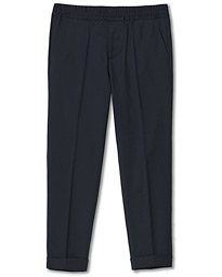 Terry Gabardine Cropped Turn Up Trousers Navy
