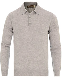 Morris Heritage Long Sleeve Polo Shirt Grey