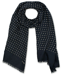 Drake's Wool/Silk Classic Spot Scarf Navy/White