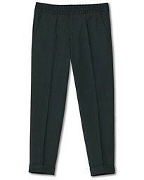 Terry Gabardine Cropped Turn Up Trousers Dark Spruce