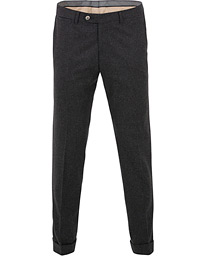 Oscar Jacobson Dean Turn Up Flannel Trousers Charcoal