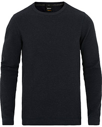 Boss Casual Tempest Fine Heather Waffle Pullover Navy