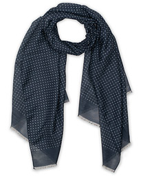 Silk Wool Polka Dot Scarf Blue