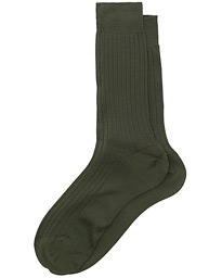 Cotton Ribbed Short Socks Olive Green