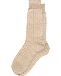 Linen Ribbed Short Socks Sand Melange