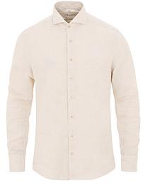 Stenströms Slimline Cut Away Linen Shirt Beige 477905d0c9799