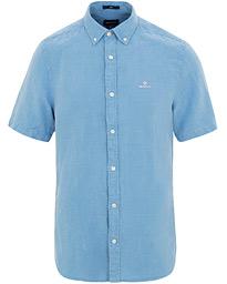 GANT Slim Fit Linen Short Sleeve Shirt Mid Blue be090168f3e96