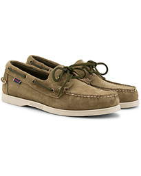 Sebago Docksides Suede Boat Shoe Green Military