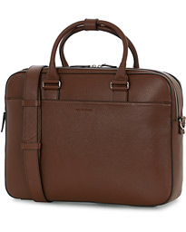 Burin Grained Leather Briefcase Brown