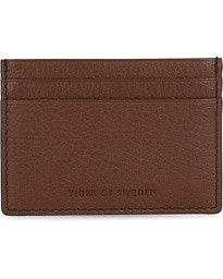 Wake Grained Leather Cardholder Brown