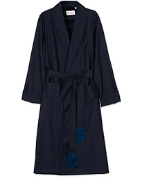 Pure Wool Dressing Gown Navy