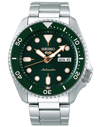 5 Sports Mens 43mm 100m Automatic Steel/Green Dial