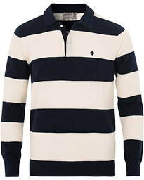 Morris Thierry Knitted Stripe Polo Shirt Navy/White