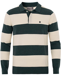 Morris Thierry Knitted Stripe Polo Shirt Green/White