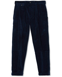 Polo Ralph Lauren Corduroy Pleated Turn Up Pants Cruise Navy