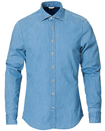 Slimline Garment Washed Shirt Light Denim
