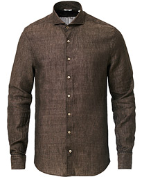 Slimline Linen Cut Away Shirt Brown