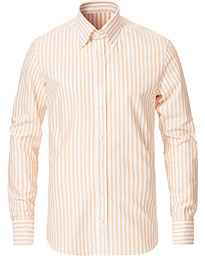 Stenströms Slimline Striped Button Down Oxford Shirt Orange