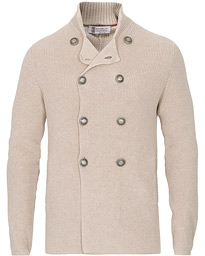 Brunello Cucinelli Double Breasted Knitted Jacket Sand