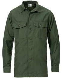 orSlow Cotton Sateen Army Overshirt Army Green