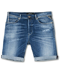 Replay RBJ901 Strech Shredded Jeans Shorts Ten Year Wash