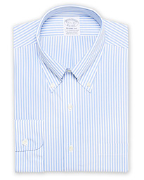 Regent Fit Non Iron Stripe Shirt Light Blue
