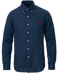 Polo Ralph Lauren Slim Fit Linen Button Down Shirt Newport Navy