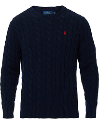Polo Ralph Lauren Cotton Cable Crew Neck Pullover Hunter Navy