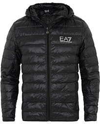 EA7 Train Core Light Down Hoodie Jacket Black
