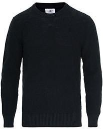 Knut Cotton Ribbed Crew Neck Navy