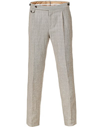 PT01 Slim Fit Pleated Linen Blend Trousers Beige