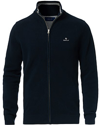 GANT Cotton Pique Full-Zip Sweater Evening Blue