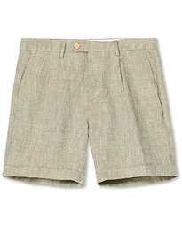 Morris Marlow Pleated Linen Shorts Olive