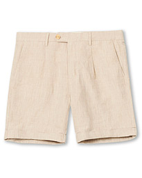 Morris Marlow Pleated Linen Shorts Khaki