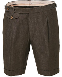 Morris Heritage Jason Pleated Linen Shorts Brown