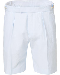 BOSS Pepe Pleated Seersucker Side Adjusters Shorts White/Blue