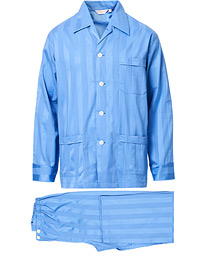 Derek Rose Striped Cotton Satin Pyjama Set French Blue