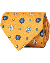 Drake's Linen Printed Flower 8 cm Tie Yellow