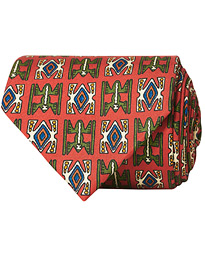 Drake's Silk Printed Native Pattern 8 cm Tie Dusty Red