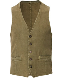 L.B.M. 1911 Cotton/Linen Structured Gilet Olive