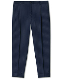 Pinstripe Tapered Turn Up Trousers Navy