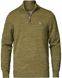 Morris Randall Cotton Half-Zip Sweater Olive